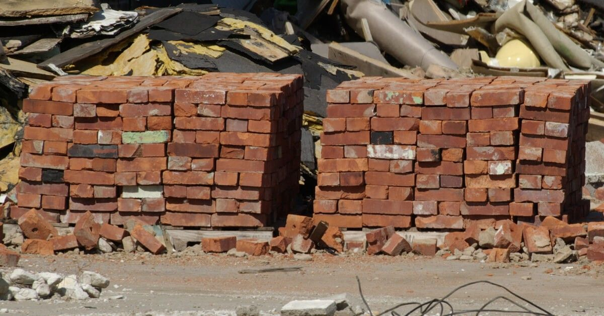 A large amount of sorted bricks from a demolition project in Rochester, NY.