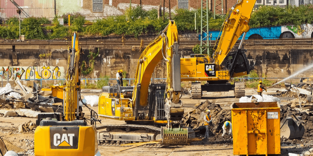 bulldozers on a demolition site